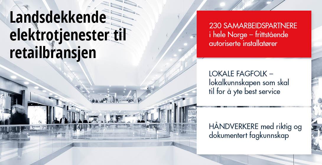 landsdekkende elektrotjenester til retailbransjen, kjøpesenter belysning